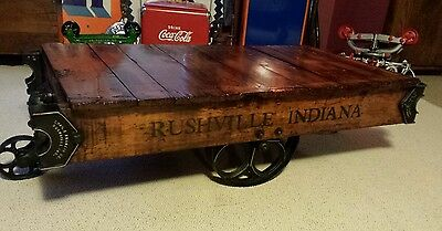 Chase E. Francis Co. industrial cart coffee table factory Rushville Indiana