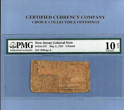 1758 $ 3 Pound New Jersey Colonial Pmg Solid Very Good 10