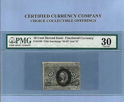 FR 1246 - 10 Cents Washington Fractional Currency 2nd Issue PMG VF 30