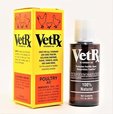 VetRx Poultry Remedy 2 oz - For Cold, Roup, Scaly Legs, etc