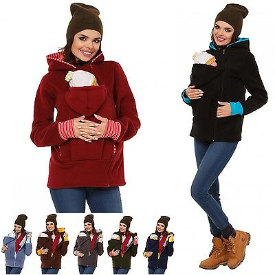 Jacket Kangaroo Warm Maternity Outerwear Coat Hoodie Pregnant Women Baby Carrier