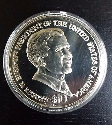 $10 Dollar 2004 George W. Bush Liberia Brilliant Uncirculated Coin