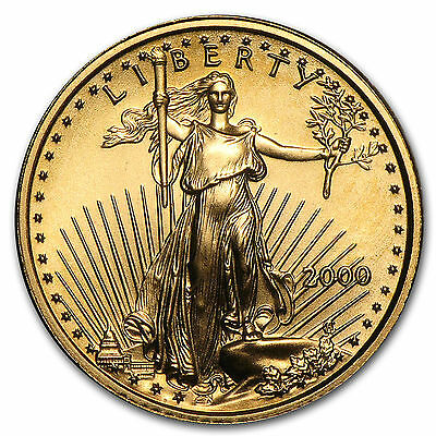 2000 1/10 troy oz. .999 Fine American Gold Eagle $5 coin, BU, Save $1 on 2 coins