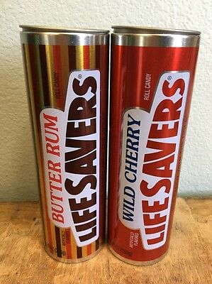 Life Savers Candy Butter Rum & Cherry Tin Metal LOT Canister Container EMPTY