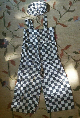 Vintage 1950s Childs halloween Theater Dance Costume Silky Satin Raggedy ANDY