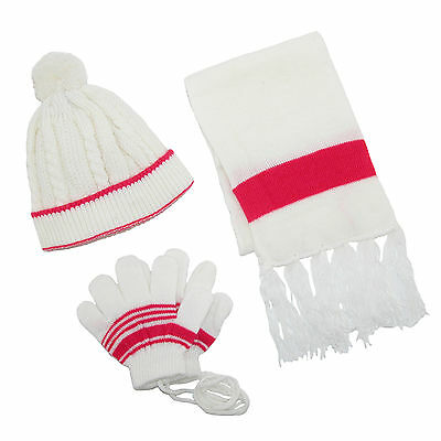 New CTM Toddlers Twisted Hat Gloves on a String and Scarf Set