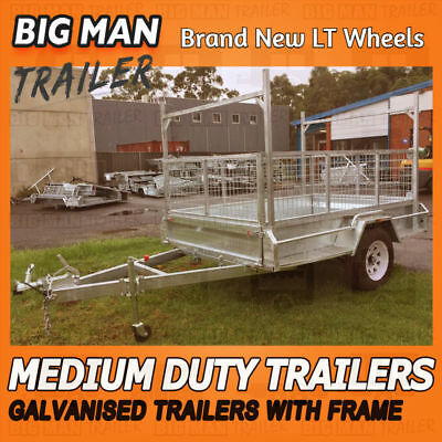8x5 Single Axle With Cage H Frame Hot Dipped  Medium Duty Galvanized Trailers