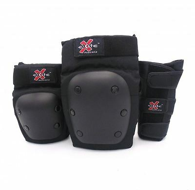 Rider Pads Elbow Knee Wrist 3 Pack Set Skateboard Black Aus Seller