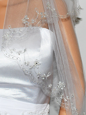 2T 2 Tier Silver Lined Beaded Edge Fingertip Length Bridal Wedding Veil White