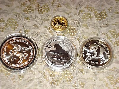 2014 Gold 1/10 Year Of The Horse 1/2 Oz Silver 1993 Panda 1996 Unicorn 2010Tiger