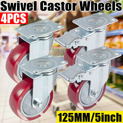 "4PCS  5"" Heavy Duty 800kg Swivel Castor Wheels Trolley Furniture Caster Brake AU"