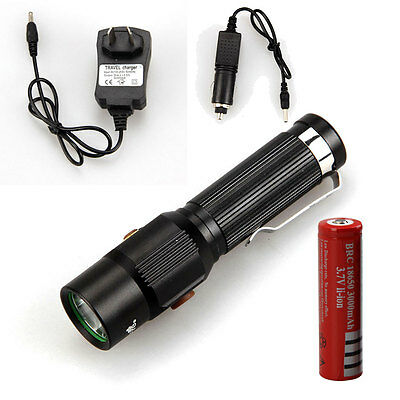 5000LM XM-L XML T6 LED Flashlight Rechargeable Torch Lamp+18650 Battery+Charger
