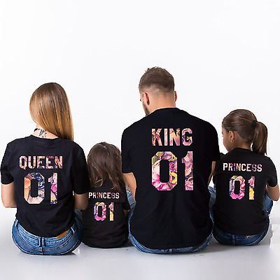 King Queen Prince Princess Love Matching Tee Family Couple Shirts Flower Print
