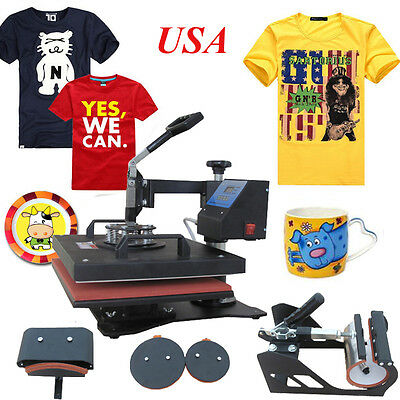 5 in1 Heat Press Machine Digital Transfer Sublimation T-Shirt Mug Hat Plate Cap