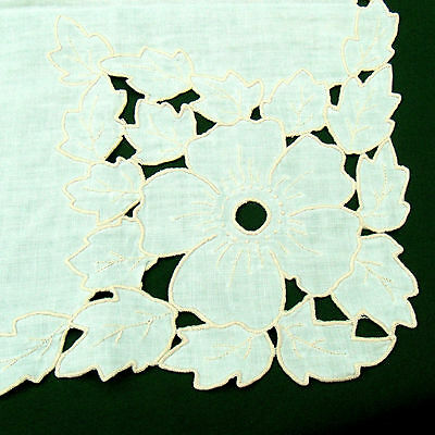 Vintage Linen Embroidered Floral Cut Work Tablecloth 49x66 Oblong