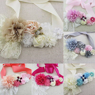 Pearls Flower Lace Girls Sash Belt Maternity Bridal Wedding Sash Photo Prop
