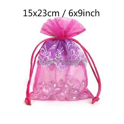 """20 LACE Pink Organza Pouches Wedding Gift Jewelry Bags Drawstring 6""""x9"""""""