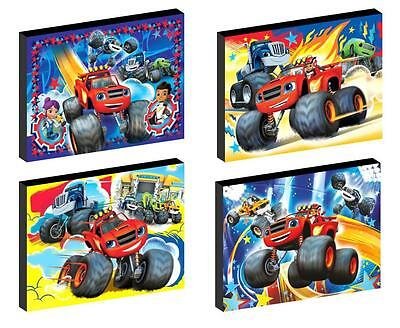 4 x BLAZE AND THE MONSTER MACHINES CANVAS ART BLOCKS/ WALL ART PLAQUES/PICTURES