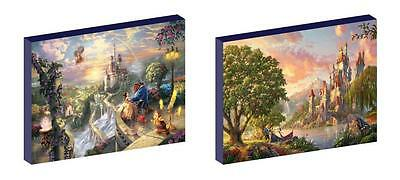 2 x CLASSIC BEAUTY AND THE BEAST CANVAS ART BLOCKS/ WALL ART PLAQUES/PICTURES