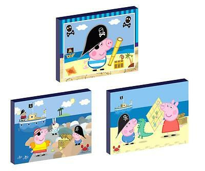 3 x GEORGE PIG PIRATE peppa CANVAS ART BLOCKS/ WALL ART PLAQUES/PICTURES