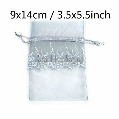 """20 LACE Silver Organza Pouches Wedding Gift Jewelry Bags Drawstring 3.5x5.5"""""""