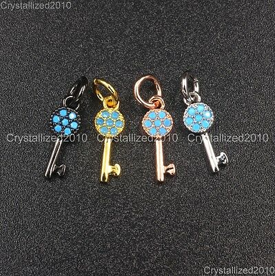 Natural Turquoise Pave Key Bracelet Connector Charm Spacer Pendant Beads Silver