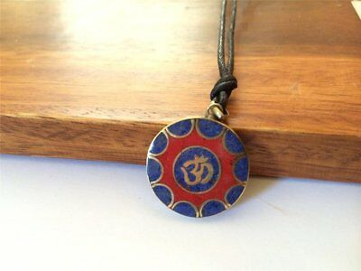 Handmade Coral and Lapis Sanscrit Om Pendant Necklace with Waxed Cord