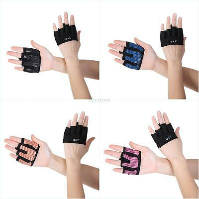 Weight Lifting Gloves Gym Training Fitness Glove Leather Long Wrist Straps