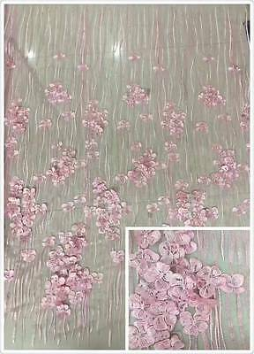3D Embroidery Flowers Crochet Tulle Lace Fabric Wedding Dress Gowns 51''/yard