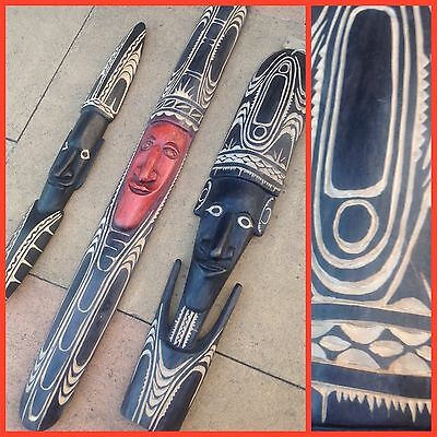 TRIO OF Hand Carved TRIBAL AFRICAN MASK WALL ART Tiki ISLANDER