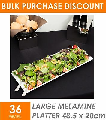 36 x Large Melamine Serving Platter 48 x 20cm White Serving Tray Catering Tray