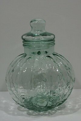 "Pumpkin Shape Apothecary Cookie Jar with Lid Green Tint Glass 15 1/2"" Tall"