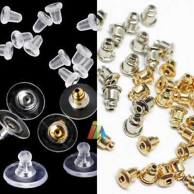 EARRING BACKS STOPPERS Silver Gold METAL Plated SOFT CLEAR PLASTIC RUBBER