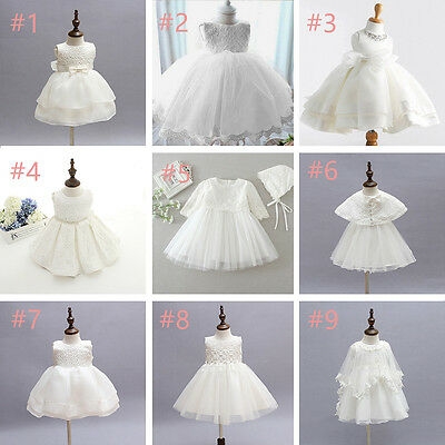 0-24m Ivorywhite Toddler Baby Girl Party Wedding Baptism Christening Fomal Dress