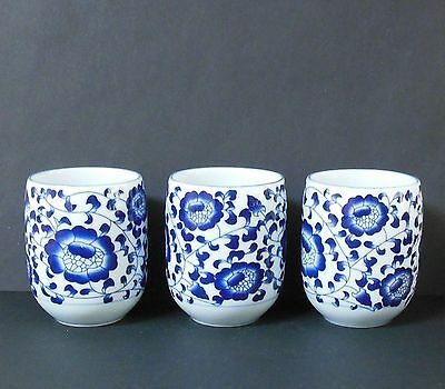 3 Vintage JAPANESE Blue White Japan PORCELAIN CHINA Tea SAKE CUP Signed Mandarin
