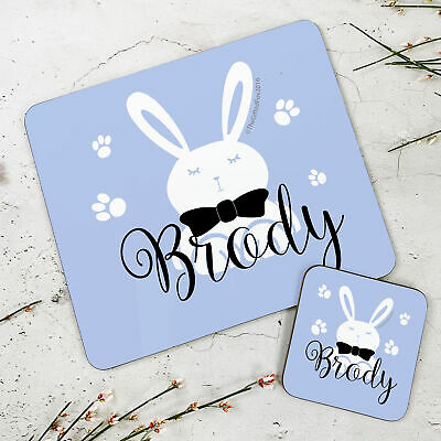 Personalised Kids New Blue Easter Wooden Glossy Placemat and Coaster Set
