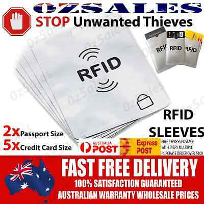 2x Passport & 5x ID RFID Blocking Credit Card Sleeve Shield Holder Protector 2
