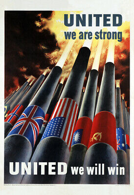 "1942 United We Are Strong Vintage WWII Poster Art Print 13"" x 19"" Reprint"