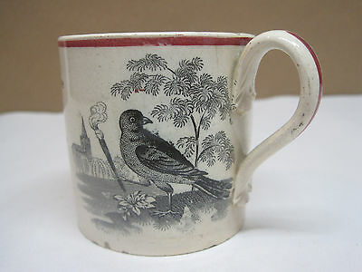 "Antique Staffordshire Childs' Mug ""Cock Robbin"""