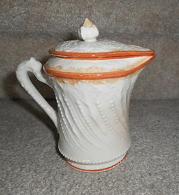 """Beautiful Vintage 5"""" Beaded Relief Design Creamware Faience Pitcher W/ Lid,japan"""