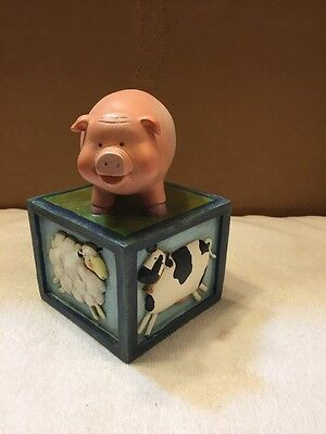 Farm Animals On A Block Figurine