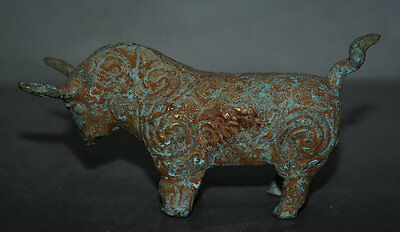 """5"""" Ancient Chinese Bronze Ware Fengshui 12 Zodiac Year Animal Bull Oxen Statue E"""