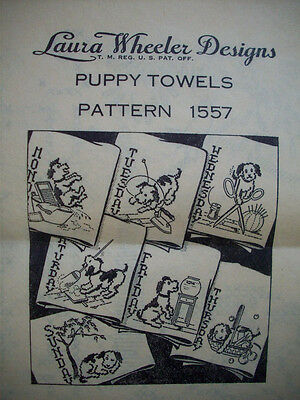Puppy Towels days of week vintage embroidery transfer Wheeler 1557