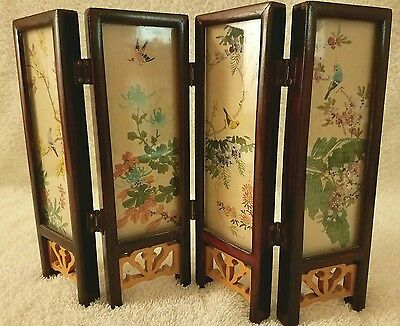 Vintage Miniature Chinese Hand Painted Table Screen Landscape NO RESERVE