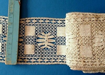 """7 yds c1910 INTRICATE FRENCH BOBBIN LACE CLUNY Ivory Antique 4 1/2"""" wide Vintage"""