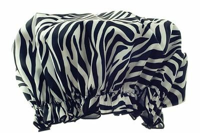 Hydrea London Eco-Friendly PEVA Shower Cap SC01Z Zebra Print Design