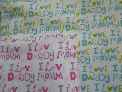 "Handmade 36x42 ""I Love Mommy and Daddy"" receiving/swaddling blankets, boys/girls"