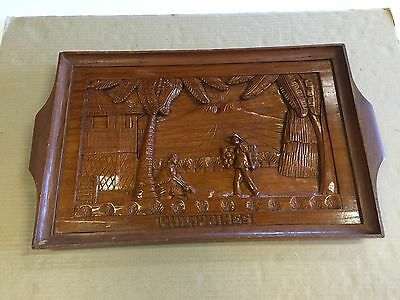 """Philippines"" Decorative Heavy Wood Carved Tray 12 X 20.5"""