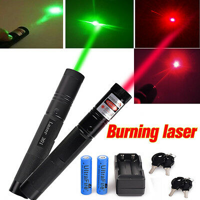 Military High Power Green&Red Laser Pointer Pen G301 Burning Lazer+18650*Charger