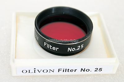 "Genuine 1.25"" #25 deep red Olivon filter for telescope eyepiece. Retail packaged"
